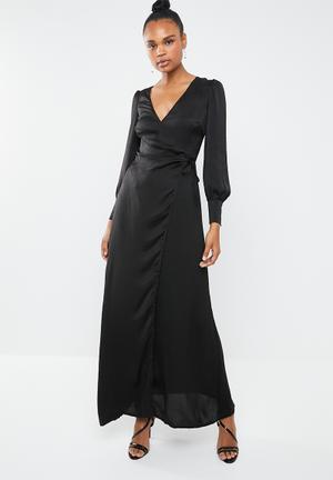 Satin tie side maxi dress - black fbe95c67720d