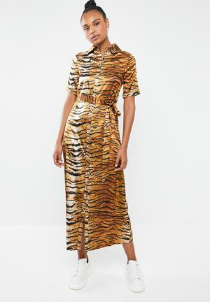 Tiger print midi maxi dress - brown d89690d52220
