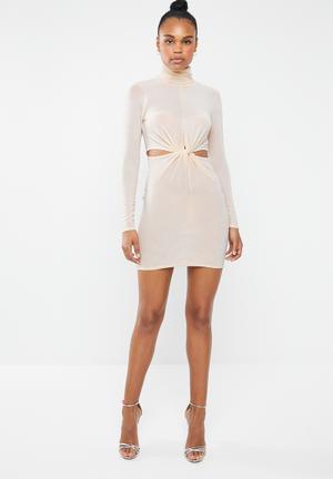 Cut out knot waist high neck midi dress - neutral d261b24936db