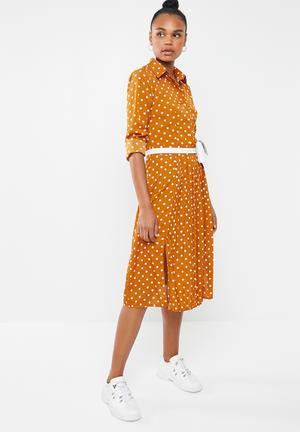 f4ecd71233b5 Midi polka dot shirt dress - yellow   white