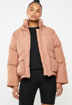 Hooded ultimate padded jacket - dirty pink