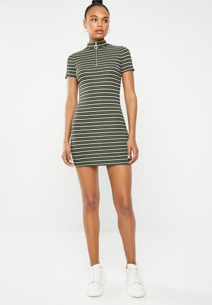 67ab672aed High neck stripe bodycon zip front dress - multi
