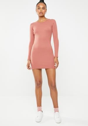 78f6d55bd54 Ribbed long sleeve bodycon mini dress - pink