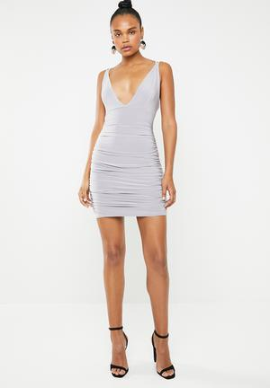 Slinky cross back ruched side dress - grey 0fd636e4a