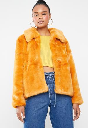 Faux fur collar crop coat - yellow