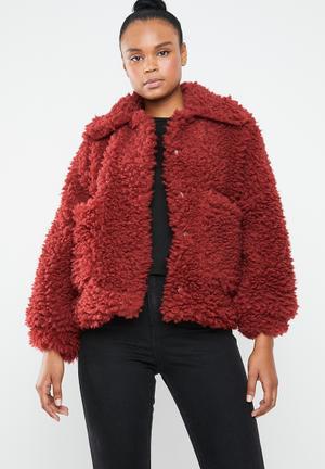 Boxy shaggy borg jacket - red