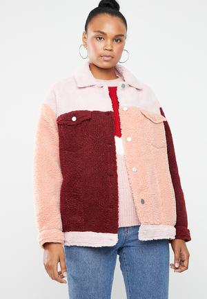 Colour block oversized borg trucker jacket - multi