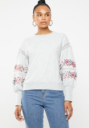fc4865cec6a4aa Lisa embroidered balloon sleeve sweater - grey