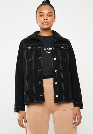 Contrast stitch lightweight borg jacket - black