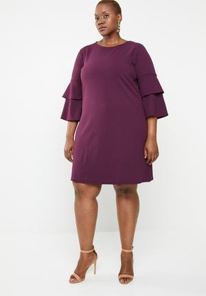 56bbe0cdd58 Frill sleeve shift dress - purple