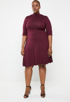7844dd3633 Turtle neck fit and flare dress - purple