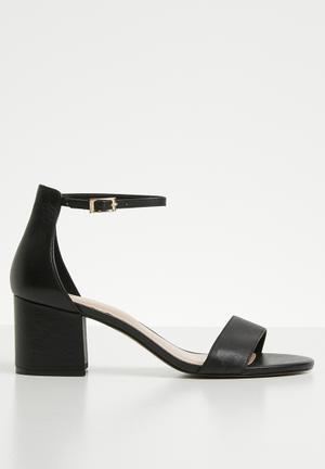 fc00faf1490 Leather ankle strap heel sandal - black