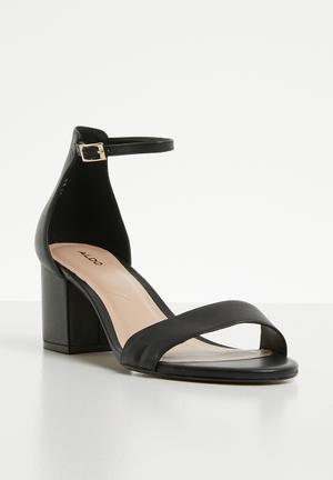 67aff452fde Leather ankle strap heel sandal - black