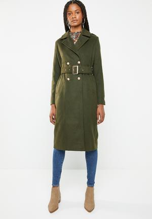 06685b716766 By Missguided R1069 · Belted military format coat - khaki