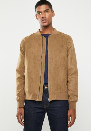 173983d57dc Lined faux suede bomber jacket - brown