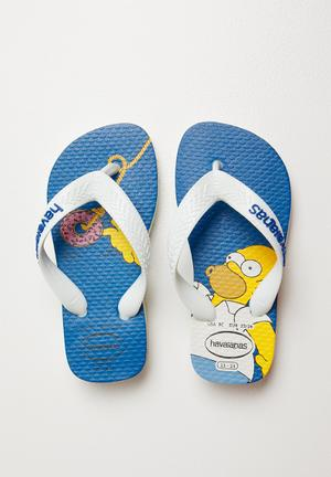 542b83d2d435 Simpsons flip flops - white