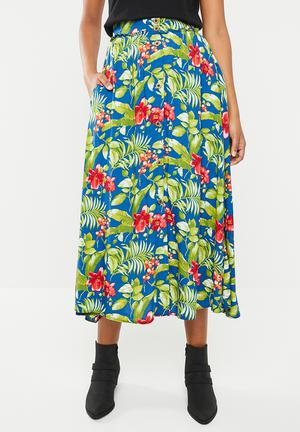 b112711525 Fit and flare button down skirt - multi