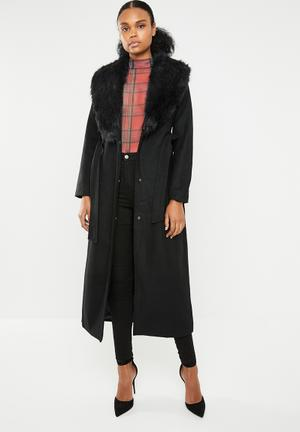 Maxi wool-like coat with detachable collar - black