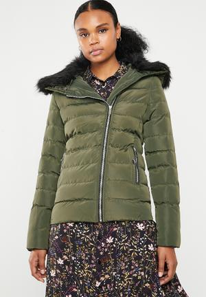 Padded jacket with detachable faux fur collar - khaki