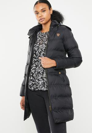 Longer length padded jacket with detachable hood - black
