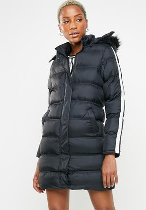 130bfdf678ea Longer length padded jacket with tape detail - black