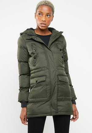 59b89064d2 Padded parka with lined hood and ribbed cuffs - khaki