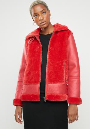 Fur short ultimate aviator - red