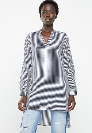 276fe0fc70931 Striped oversized shirt - navy   white