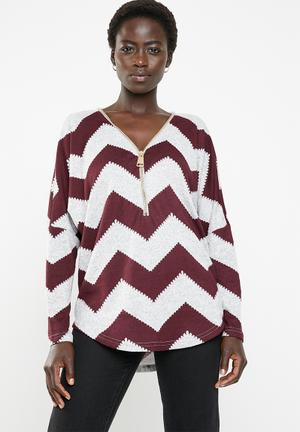9708b3c317fb03 Zig zag top - burgundy   grey