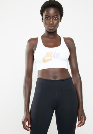 90ca391367 Nike swoosh metallic future bra - white