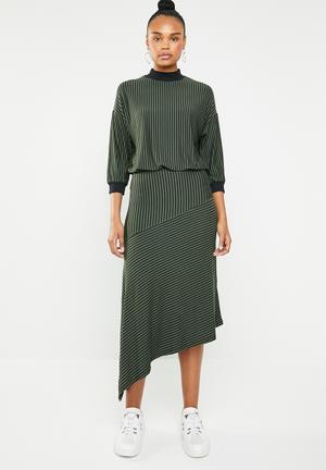 Asymmetrical waisted knit dress - black   khaki 119b5654fba0