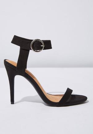 5245aec6ac7 Faux suede ankle strap heel - black