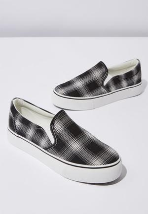 3276d4f31a28 Canvas check print platform slip on - black   white
