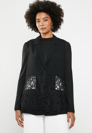 66e6b56e4c9 Lace band blazer - black
