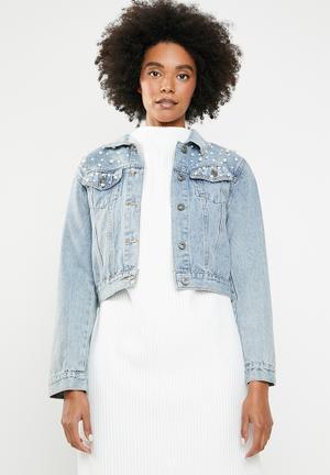 46062ad0a429 Pearl denim jacket - blue