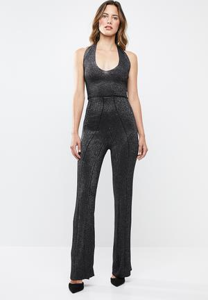 3016696e815f Discount. Lurex halter jumpsuit - black