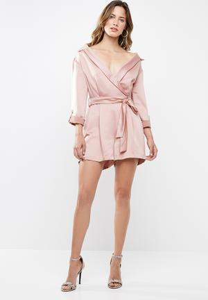 c0cb2f7cafe3 Boity bardot shirt playsuit - pink