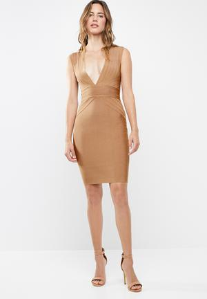 408e22bf85de Bandage dress with plunging neckline - brown. LOW STOCK