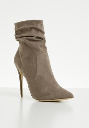 Ruched stiletto heel boot - grey
