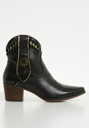 f67a63fed42 Faux leather laser-cut ankle boot - black   gold
