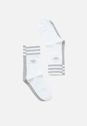 Solid crew socks 2 pack - grey   white 6e505f36a