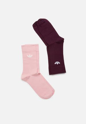 best cheap e7f6c 722b7 By adidas Originals R149 · Solid crew socks 2 pack - pink  burgundy