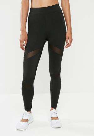 d3a01b042fa Mesh insert gym leggings - black