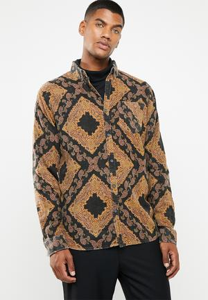 4b124350c60b Long sleeve printed flannel shirt - black   tan