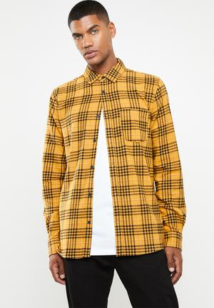 e8b9225af8cb Check rugged long sleeve shirt - yellow