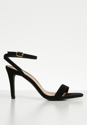 Wide fit strappy square toe heels - black