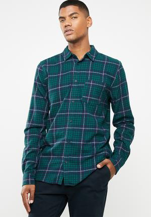 e7d7d2bc0f1 Check rugged long sleeve shirt - navy   green