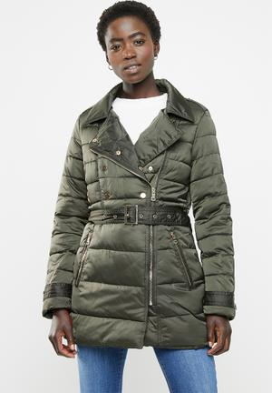 0340e23a2bc Biker style quilted puffer - khaki
