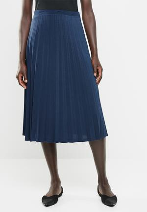 79eac22e736 Pleated flared skirt - navy