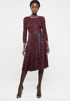 475e13bd55ec Long sleeve fit and flare dress - burgundy
